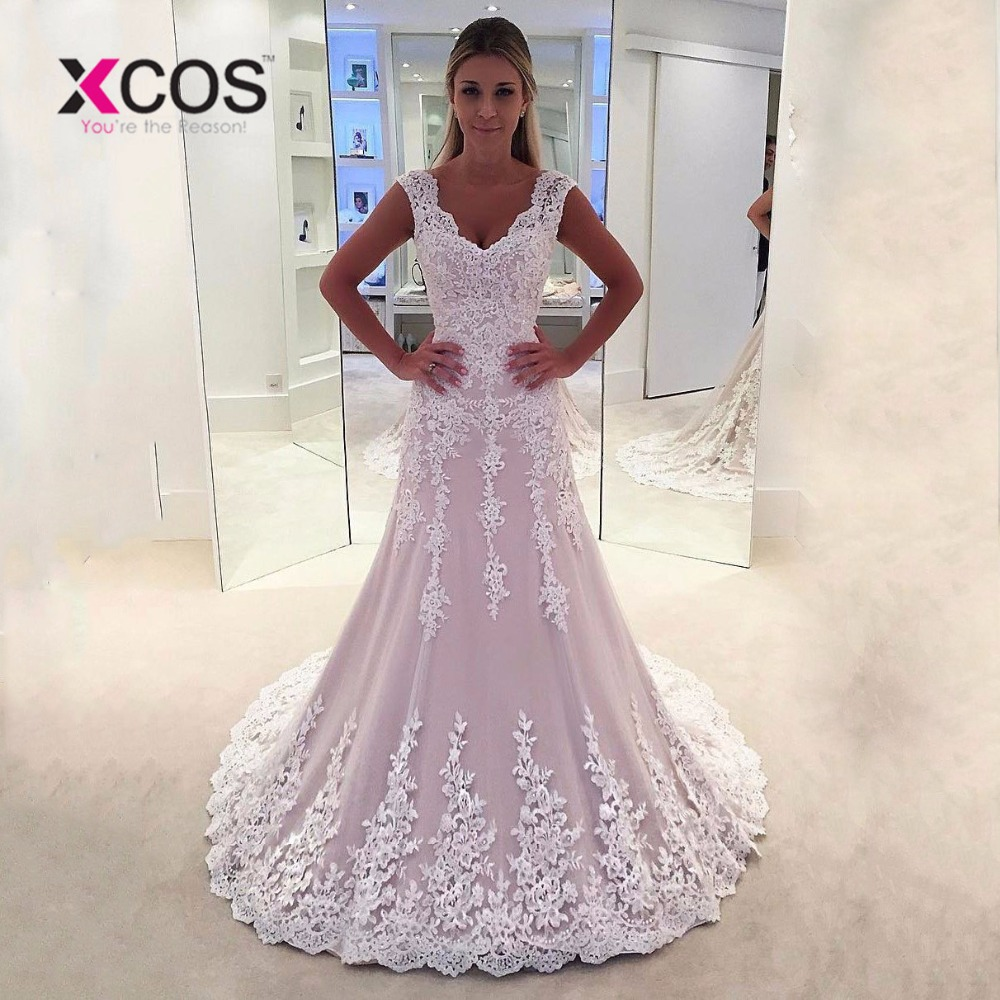 XCOS Pink Mermaid Wedding Dresses Plus Size 2018 Trouwjurk Custom Made vestido de noiva sereia Lace Backless Bridal Dress Gowns