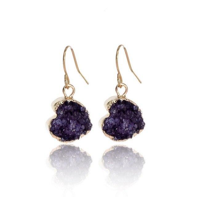 SEDmart Фиолетовый Druzy Каменное Сердце Серьги Падения Позолоченные Природный Камень Кварца Камень Geode Кристалл Мотаться Серьги Женщины
