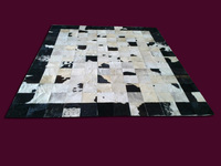 Free Shipping 1 Square Meter 100 Natural Hand Made Cow Leather Black Red White Rug
