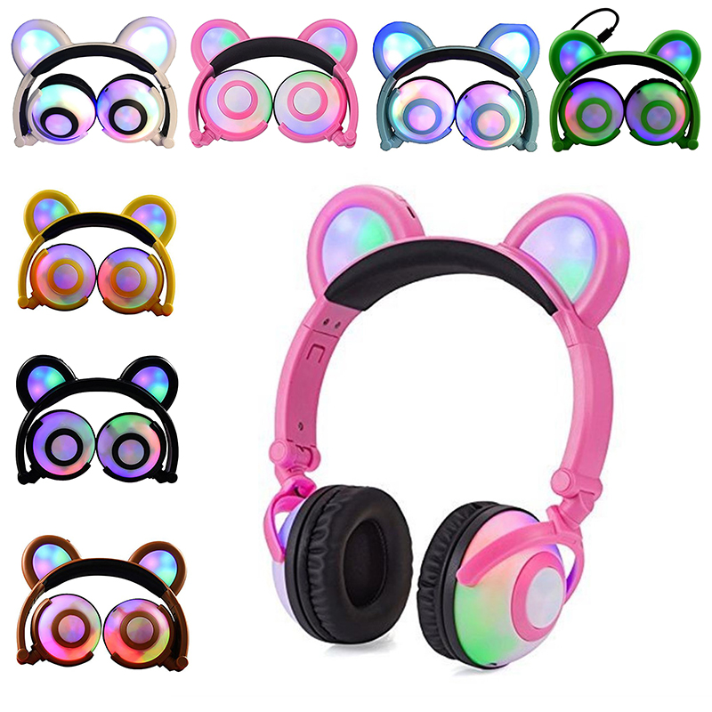 New Foldable Flashing Glowing Bear Ear Headphones Gaming Headset Cosplay Earphone with LED light For PC Laptop Mobile Phone