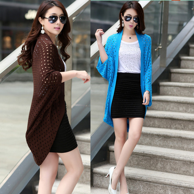2016 New Summer Women Jacket Cardigan Plus Size Knit Coat Vintage Batwing  Sleeve Hollow-Out 134f571073b1