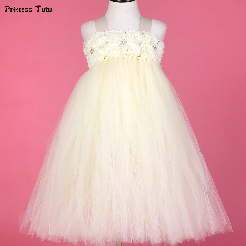 Pearls Rhinestone With Flower Kids Tutu Dresses for Girls Children Tulle Party Ball Gown Girl Princess Flower Girl Wedding Dress handmade girls tutu dress flower girl dresses halloween costume children kids tulle dress for pageant party prom photo vestidos