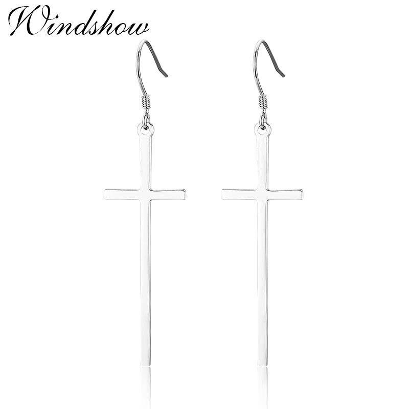 Real 925 Sterling Silver Long Cross Drop Dangle Hook Earrings For Women Girls Jewelry Gift Pendientes Aros Oorbellen Orecchini все цены