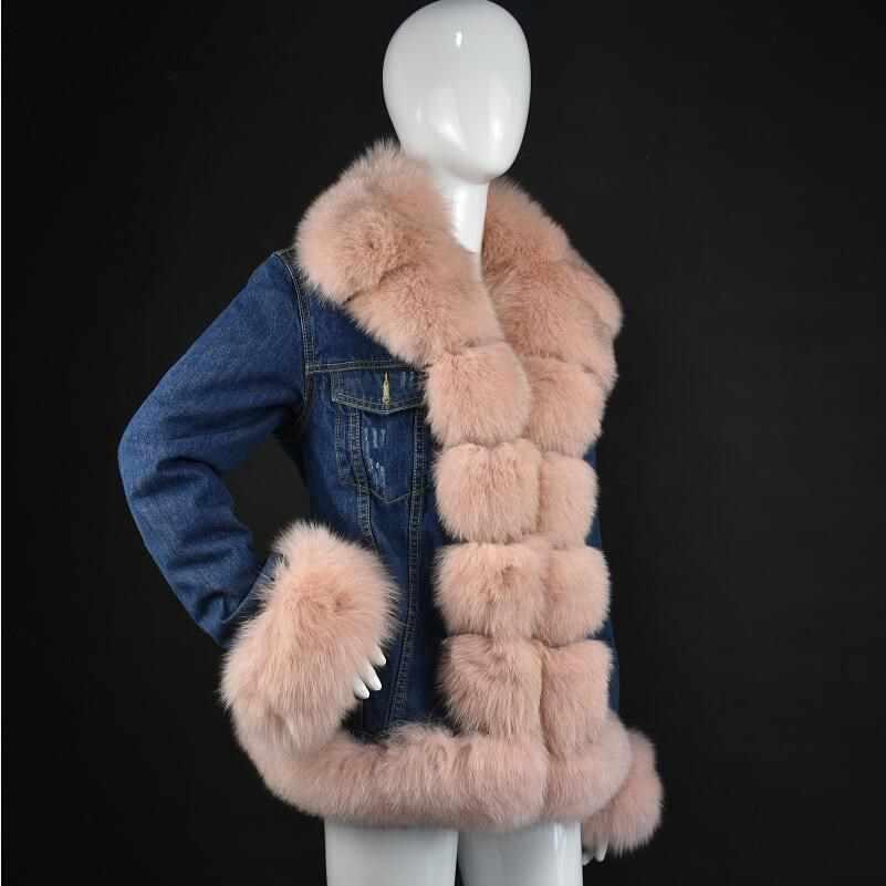 2018 echt vossenbont denim jas afneembare jas denim street lente vrouwen natuurlijke jas met bont warme park met bont
