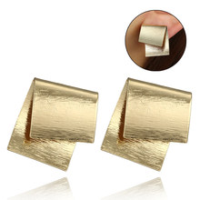 Retro Exaggerated Creative Ear Studs Square Irregular Geometric Bend Pendant Jewelry Retro Fashion Stud Earrings Gift Eardrops(China)