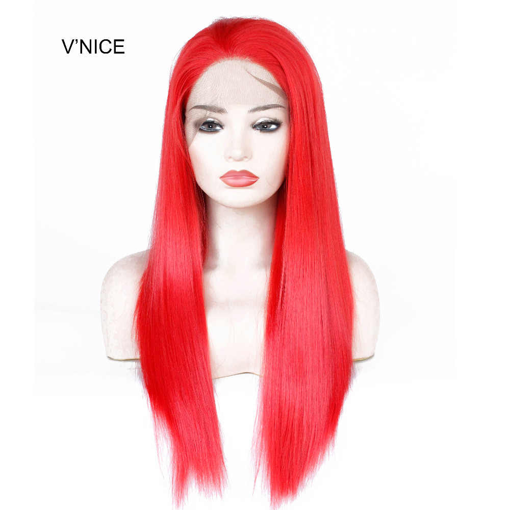 VNICE Straight Glueless Synthetic Lace Front Wig Red Women s Lace Front  Natural Wigs Long Heat Resistant 988e37fc5