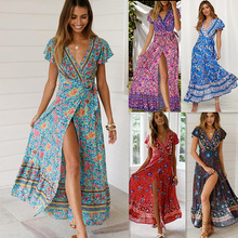 цена на Summer Beach Dress Women Flower Print  V-neck Bundle Waist Split Maxi Dress