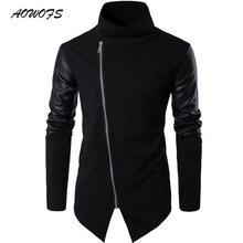 Womens Clothing Accessories - Mens Clothing - AOWOFS 2017International European Size Autumn  Fashion Black Zipper Leather Stitching