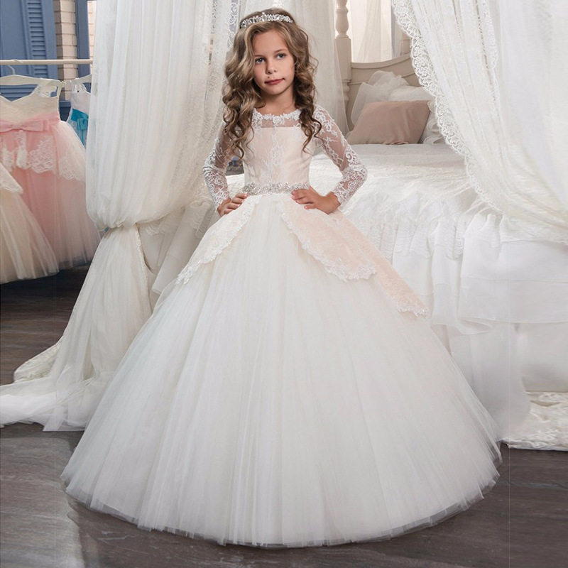 New Princess Lace Flower Girl Dresses Long Sleeves Floor Length Pageant Dresses First Communion Dresses Ball Gowns For Girl