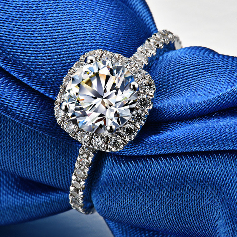 2ct Carat rétro luxe bagues de fiançailles pour femmes AAAAA haute qualité NSCD anneaux 925 pur argent blanc or couleur anneaux bijoux