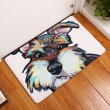 HomeMiYN для ванной коврики фланель цифровой подножки современный мультфильм Стиль роспись собака любопытный Шнауцер ванная комна