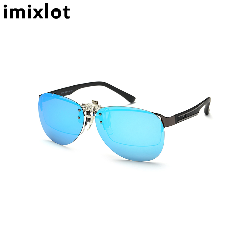sunglasses with polarized lenses 2lhm  IMIXLOT Myopia Clip on Sunglasses Rimless Clip Glasses Polarized Lenses  UV400 Suitable Optical Glass Filp on