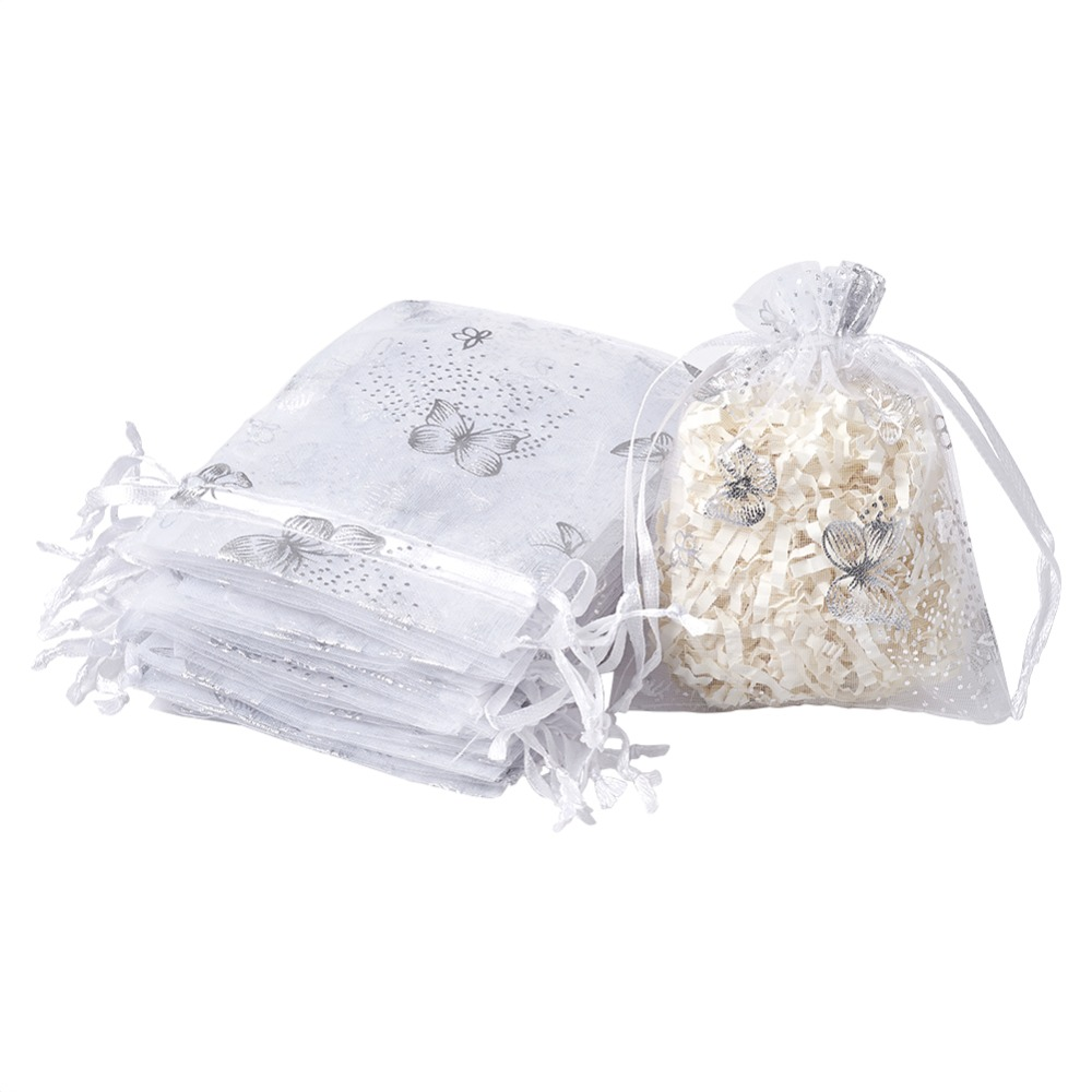 100pcs 10x12cm Organza Fabric Small Present Gift Packing Package Drawstring Bags Wholesale Discount Bulk, White