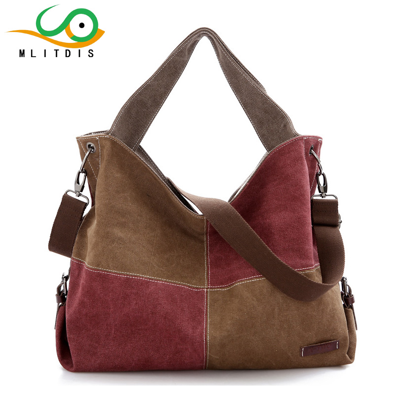 MLITDIS Women Messenger Bags Splicing Handbags Famous Brand Canvas Bags Woman Shoulder Bag Big Capacity Handbags Casual Tote Bag kvky vintage woman canvas handbags large capacity casual tote women shoulder bag brand messenger bags ladies shopping bag bolsa