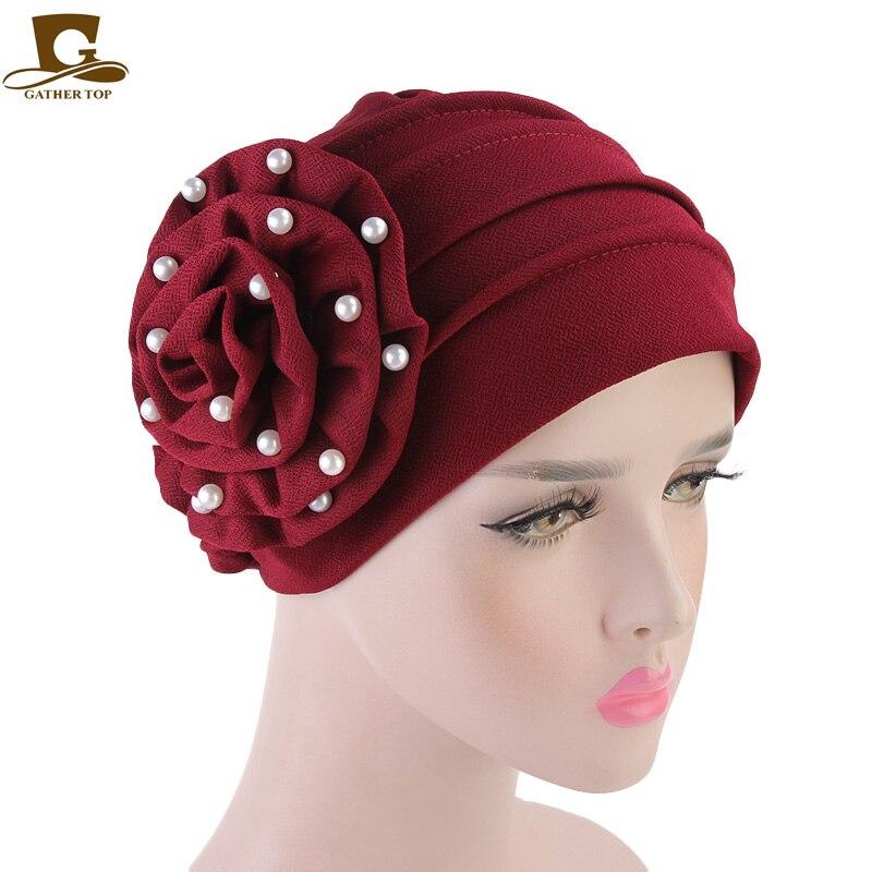 58f3480e76e Dropwow New Women beaded flower hat Muslim Chemo Turban Ruffle Beanie Cap  Scarf for Cancer Patient Hair Loss Head Scarf Wrap Hijib Cap