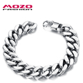 MOZO FASHION Trendy Punk Men Jewelry Stainless Steel Link Chain Bracelets Cool Men's Bracelet Charms Accessories Pulseras MGS720