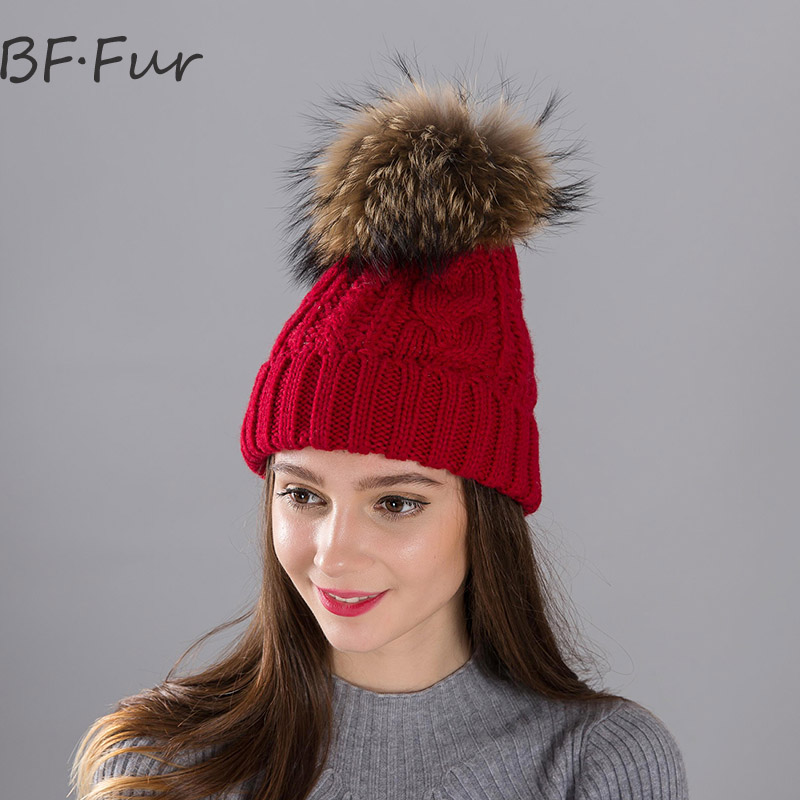 Real Raccoon Fur Animal PomPom Hat For Girls Russian Winter Warm Beanies Women Knitted Acrylic Bonnet Natural Solid Color Cap russian real mink fur hat for female animal fur winter warm beanies fashion solid color cap natural color bonnet girls hats