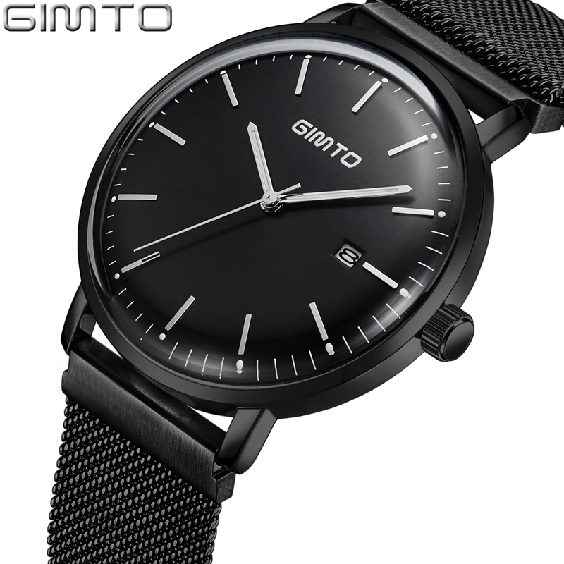 GIMTO Top Brand Men Watch Black Steel Luxury Quartz Wristwatch Waterproof Clock Carendar Male Business Watches Montre Relogio