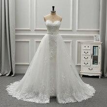 Fansmile 새로운 럭셔리 빈티지 레이스 2 1 웨딩 드레스 2020 공 가운 공주 신부 웨딩 드레스 Vestido De Noiva FSM 554T