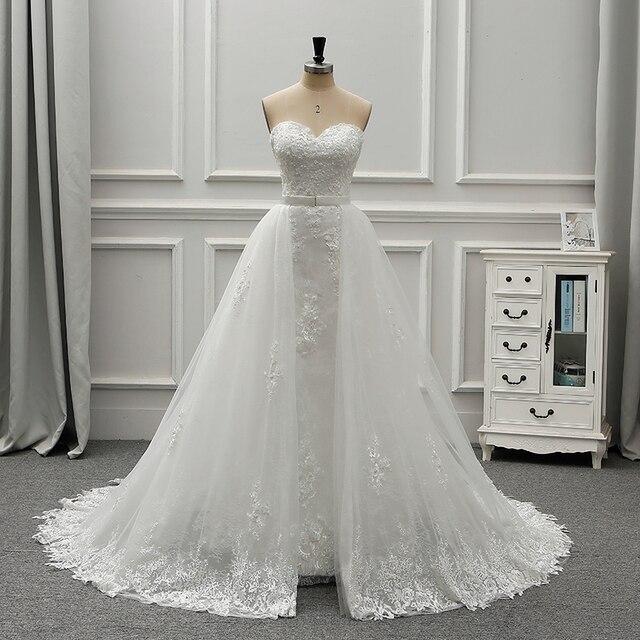 Fansmile جديد فاخر خمر الدانتيل 2 في 1 فستان الزفاف 2020 الكرة ثوب الأميرة الزفاف فساتين الزفاف Vestido De Noiva FSM 554T