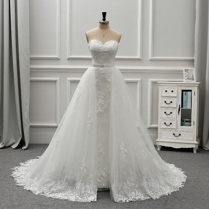 Fansmile New Luxury Vintage Lace 2 In 1 Wedding Dress 2019 Ball Gown Princess Bridal Wedding Gowns Vestido De Noiva FSM-554T