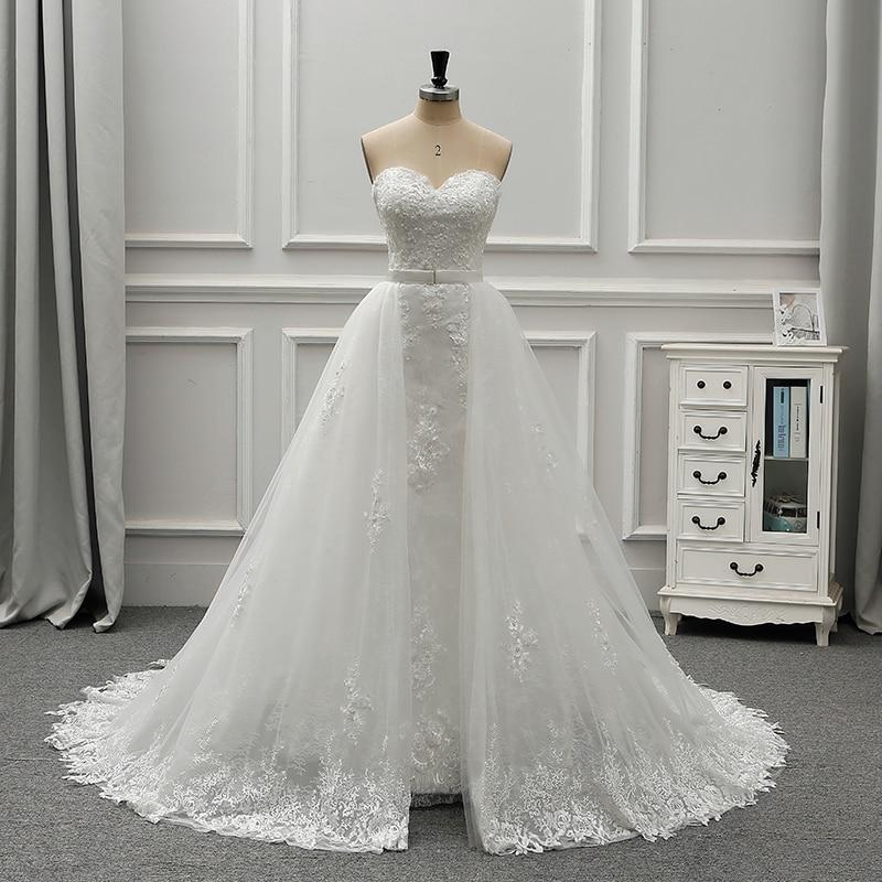 Fansmile New Luxury Vintage Lace 2 In 1 Wedding Dress 2020 Ball Gown Princess Bridal Wedding Gowns Vestido De Noiva FSM-554T