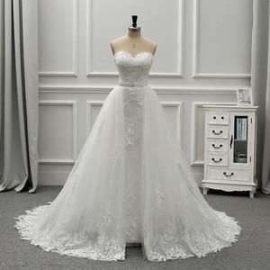 Image 1 - Fansmile robe De mariée en dentelle Vintage 2 en 1, robe De mariée luxueuse, tenue De bal, nouvelle collection 2020