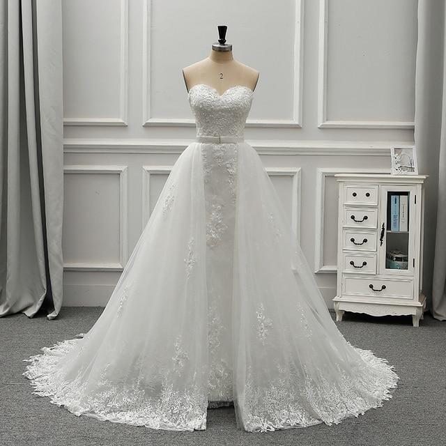 Fansmile robe De mariée en dentelle Vintage 2 en 1, robe De mariée luxueuse, tenue De bal, nouvelle collection 2020