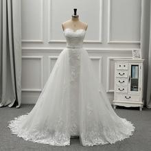 Fansmile yeni lüks Vintage dantel 2 in 1 düğün elbisesi 2020 balo prenses gelin gelinlikler Vestido De Noiva FSM 554T