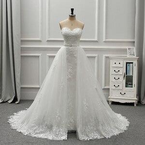 Image 1 - Женское винтажное свадебное платье Fansmile, роскошное кружевное платье 2 в 1, бальное платье принцессы, модель 2020 года, одежда для невесты, платье для свадьбы, 2019