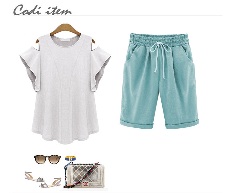 HTB138VUOirpK1RjSZFhq6xSdXXaQ - Oversized Women Summer Cotton linen Shorts Casual Ladies Drawstring Elastic Loose Short Trousers Plus Size S-8XL WDC2019