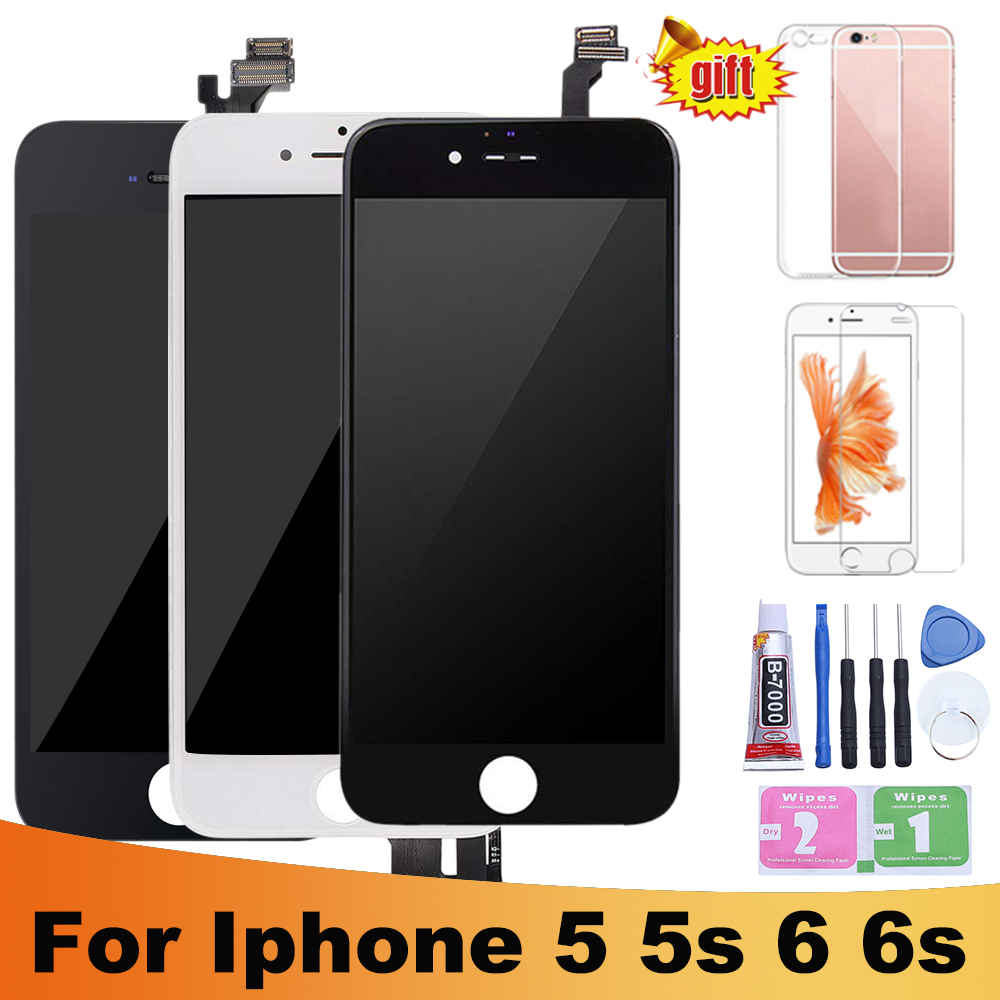 Black/White Assembly LCD Display Digitizer for iPhone 6s AAA Quality LCD Touch Screen for iPhone 6 7 5s No Dead Pixel with Gifts-in Mobile Phone LCD Screens from Cellphones & Telecommunications