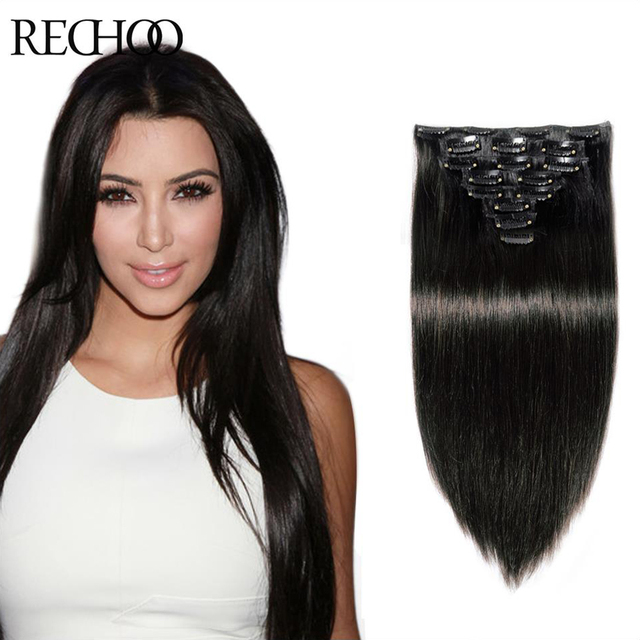 Clip In Human Hair Extensions Double Drawn Fashionable 100g Clip In