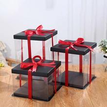 20 см/25 см/35 см прозрачная подарочная коробка, пластиковый органайзер, коробка для хранения с черной крышкой и основанием, для торта в виде Розы и цветка медведя на день рождения