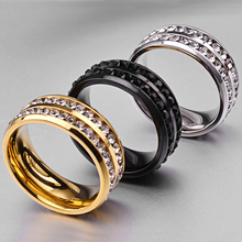 Fashion Unisex Double Rows Crystal Rings Shellhard Rhinestones 316L Stainless Steel Finger Ring For Men Femme Wedding Jewelry