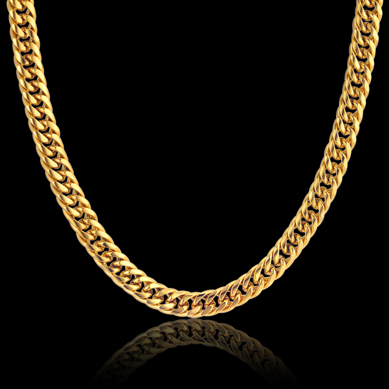 "Gold Color Stainless Steel Collar Necklace 8MM Mens Gold Chain Necklace Male Cuban Link Chain Necklaces 23"" 26"" 28"" Collares"