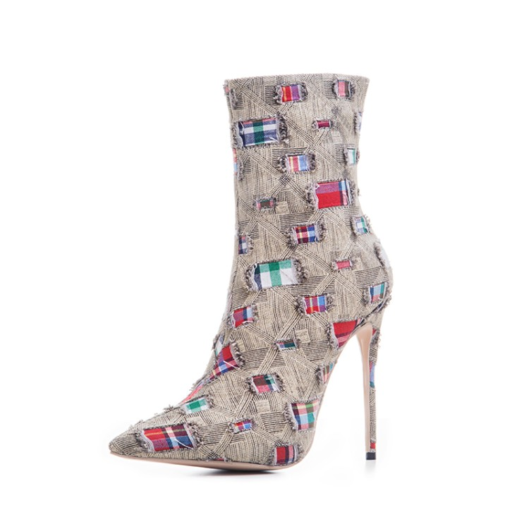 Fashion Denim Short Boot Pointed Toe High Heel Patchwork Boots Autumn Thin Heels Shoes Sexy Dress 12 cm Party Shoes