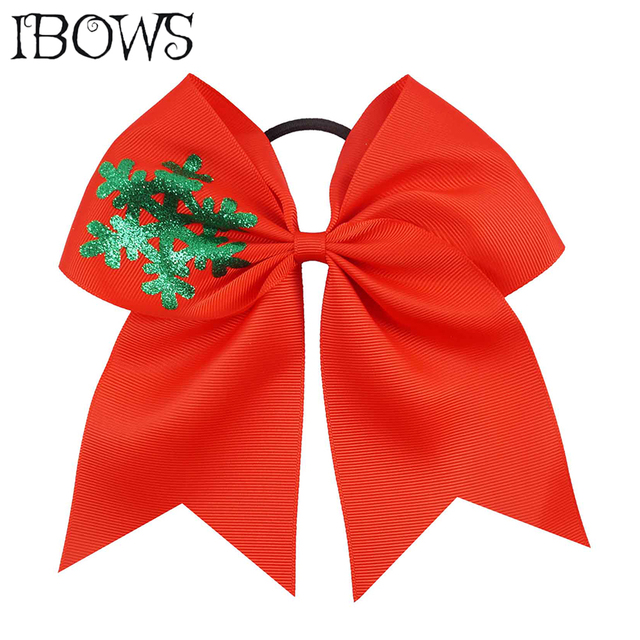 7 inch printed bling snow cheer bows christmas solid red green hair bows with elastic ponytail