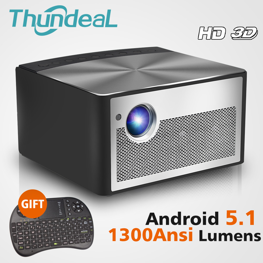 ThundeaL HD DLP Projector H1 Android WiFi Shutter Active 3D Smart Beamer 1300 ANSI Lumens Support