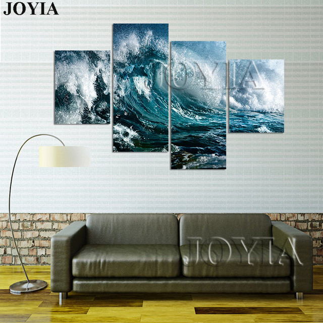 4 Panel Ocean Wave Canvas Painting Sea Storm Seascape Decorative Wall Art Pictures For Contemporary Home