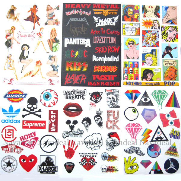 6 x rock pop art skull extreme sports luggage skateboard laptop bumper sticker
