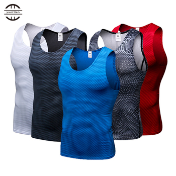 Yel nowe rajstopy uciskowe koszulka na siłownię Top szybkie pranie bez rękawów sportowa koszula mężczyźni siłownia odzież na lato fajne męska kamizelka do biegania tanie i dobre opinie yuerlian Pasuje mniejszy niż zwykle proszę sprawdzić ten sklep jest dobór informacji Poliester 4021 2017 tight polyester spandex