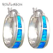 Rolilason Лидер продаж, брендовые дизайнерские голубой огненный опал Серебро штампованные серьги-кольца для вечеринки Модные украшения для Для женщин OES589