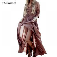 Solid Brown Waist Controlled Slim Long Women Dresses Summer Boho Beach Lace Up Maxi Dresses Trendy Sundress Feminine Vestidos