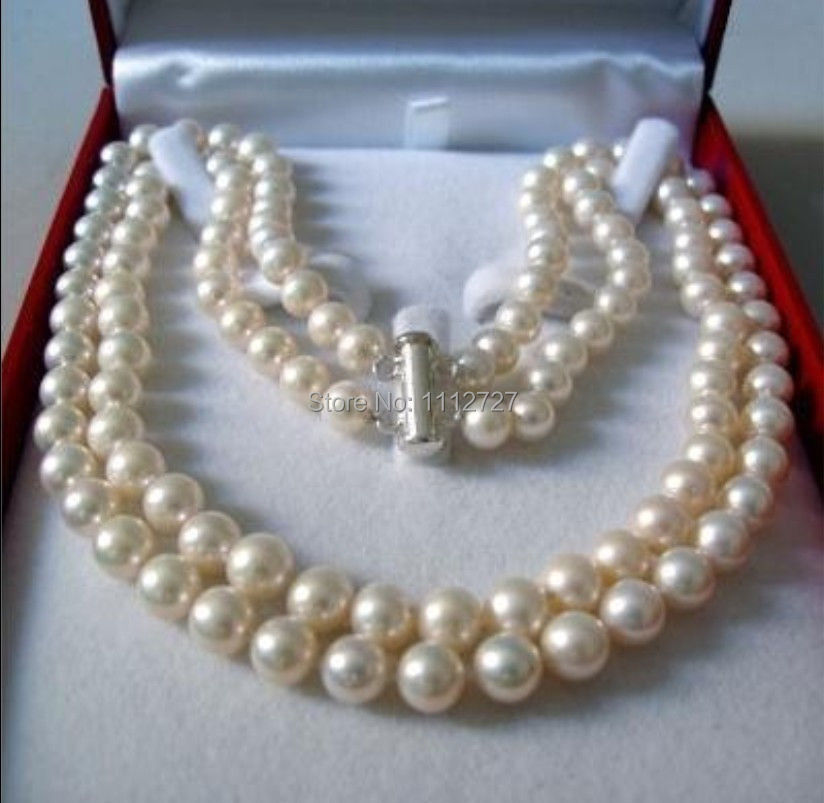 2 Rows 8 9MM WHITE AKOYA SALTWATER PEARL NECKLACE 17 18 quot beads Hand Made jewelry making Natural Stone YE2091 Wholesale Price in Chain Necklaces from Jewelry amp Accessories