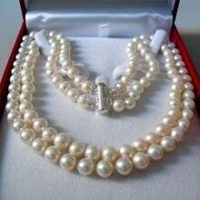 b9a3b5e4347b 2 filas 8-9mm blanco AKOYA agua salada collar de perlas 17-18