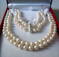 """2 Rows 8-9MM WHITE AKOYA SALTWATER PEARL NECKLACE 17-18"""" beads Hand Made jewelry making Natural Stone YE2091 Wholesale Price"""