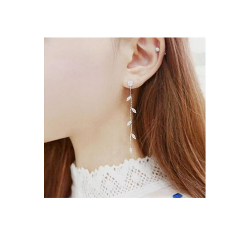 Grace Jun Long Willow Shape Clip On Earrings For Gril's Party Wedding Charm Rhinestone CZ Without Pierced Earrings Korea Style