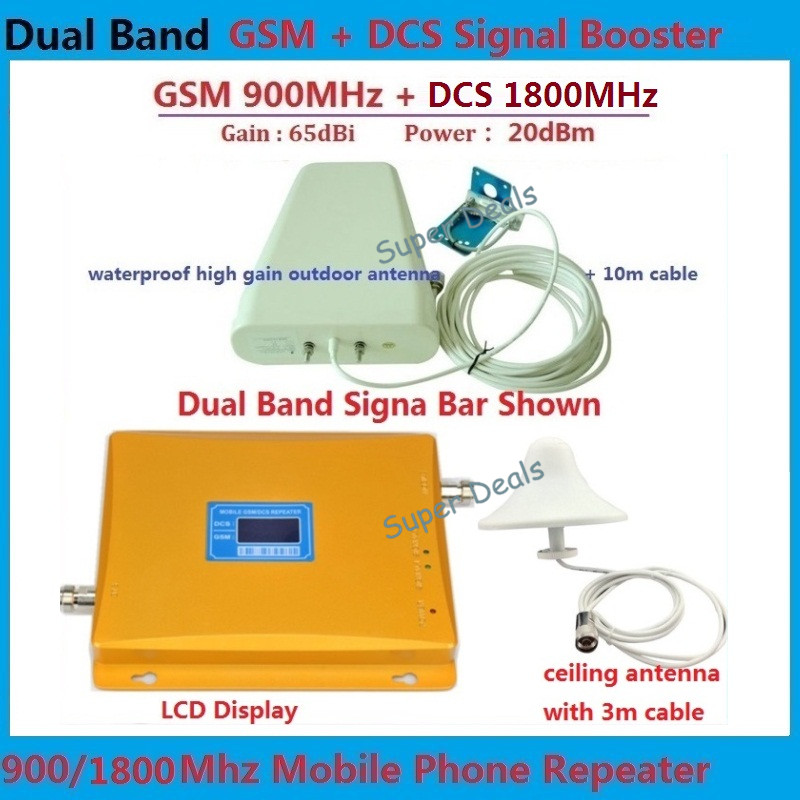 Full Set GSM 900 4G LTE 1800 FDD Dual Band Repeater LCD Display 65dB Gain GSM