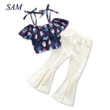 2018 أوروبا وأمريكا انفجارات الملابس يحدد مجموعات تسخير الأطفال الطباعة قمم + مشاعل السراويل 2 قطعة الملابس